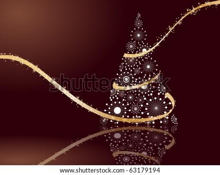 stylized Christmas tree on decorative background - stock vector