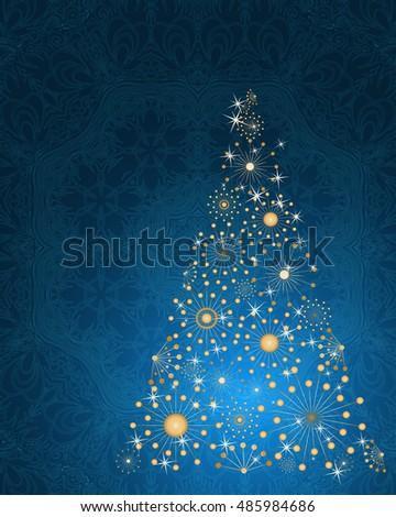 stylized Christmas tree on decorative background. Merry Christmas lettering text for internet sites, gift cards, flyers and presentations. Vector illustration