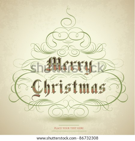 Stylized Christmas tree with  flourish ornaments and text Merry Christmas. Vector Illustration. - stock vector