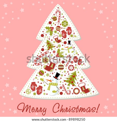 Stylized Christmas tree with xmas toys, balls, snowflakes, cute cartoon mittens, candy cane, holly berries, smiling snowman and red stocking - stock vector