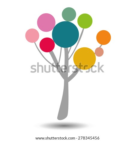 Stylized color symbol of the tree. A template for a logo or a design element. - stock vector