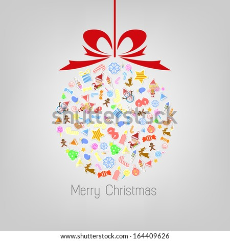 Stylized Colorful Background with Christmas Elements, Christmas tree