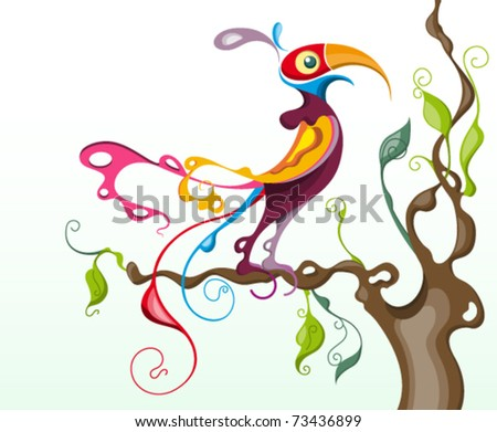 stylized colorful tropical bird perched on a branch of a tree : parrot - stock vector
