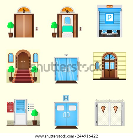 Stylized colorful vector icons for door. Colored icons vector collection of different types entrance doors on white background. - stock vector