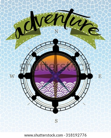 Stylized compass set in boat steering wheel,  banner and word adventure - travel adventure concept  - stock vector