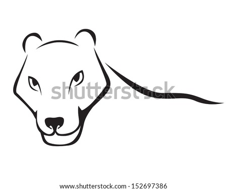 Stylized contour image Panther head - stock vector
