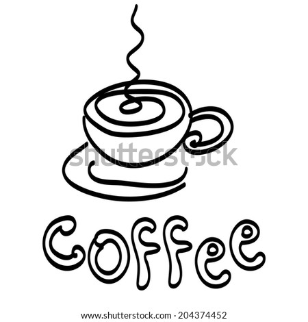 Stylized cup of coffee. Sketch of coffee cup. Coffee cup illustration  - stock vector