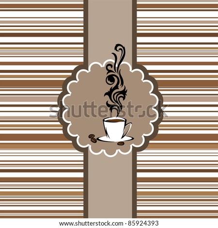 Stylized cup of steaming coffee in a circular frame - stock vector