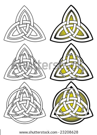 Stylized decorative celtic knotwork outline illustration ornament
