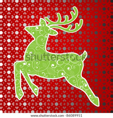 Stylized deer with background pattern - stock vector