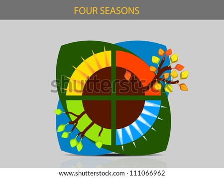 Stylized depiction of the four seasons 2 - stock vector