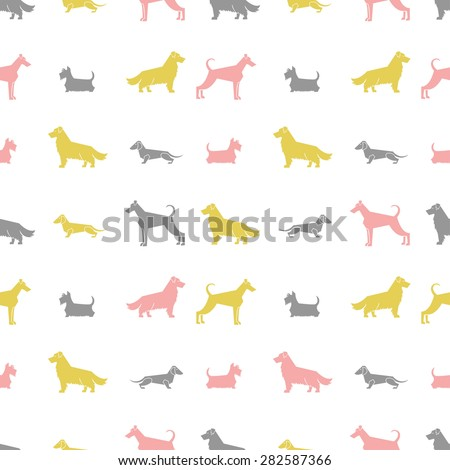 Stylized dog breeds silhouettes  seamless pattern. All objects are conveniently grouped and are easily editable. - stock vector