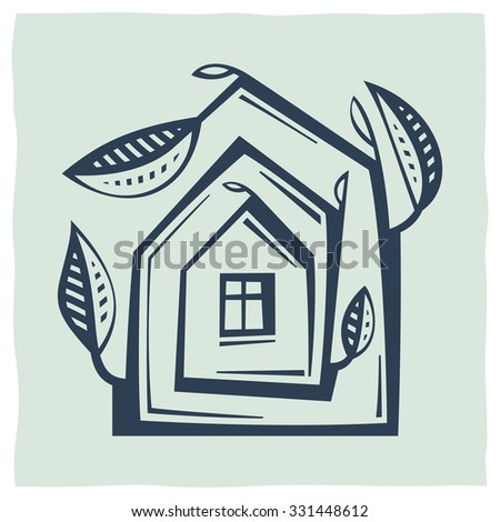 Stylized drawing expressing the environmental idea, the concept of ecology, safety, security. Icon of house and tree - stock vector