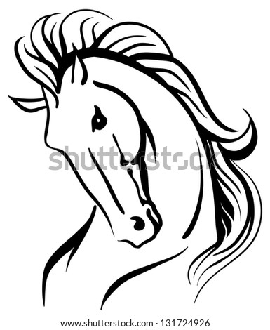 Stylized drawing of a wild horse - stock vector
