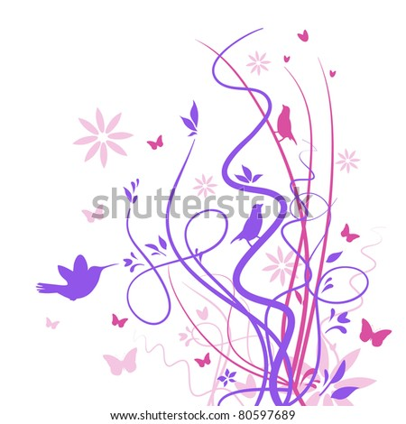 Stylized drawing of birds and butterflies with flowers and reeds - stock vector