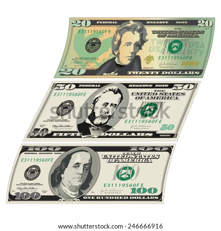 Stylized drawings of Bills - stock vector