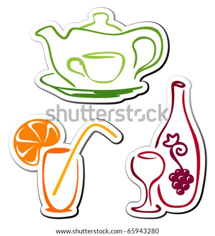 Stylized drink icons - stock vector