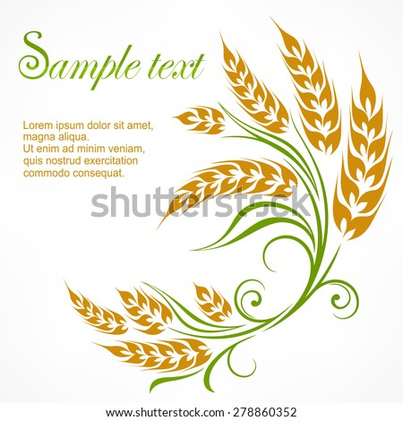 Stylized ears of wheat pattern on white & text, vector illustration - stock vector