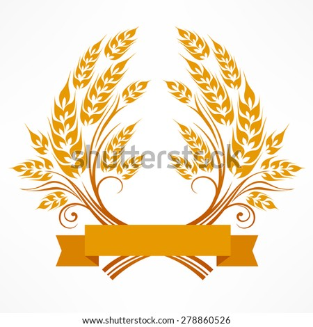 Stylized ears of wheat wreath on white, vector illustration - stock vector