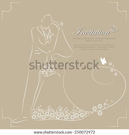 stylized elegant couple wedding invitation card - stock vector