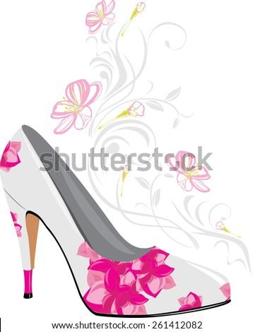 Stylized elegant female shoes. Vector - stock vector