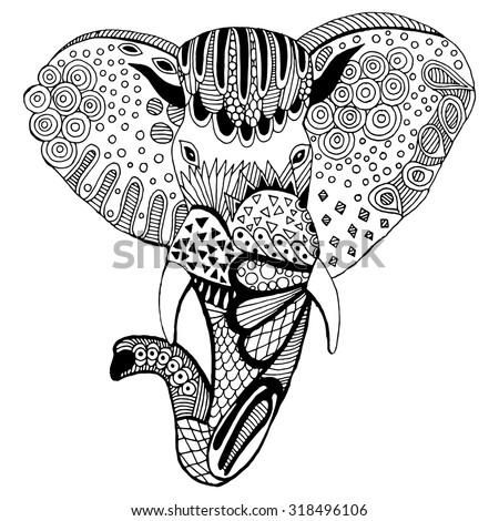 Stylized elephant illustration. Illustration of elephant's head - stock vector