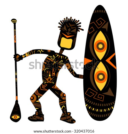 Stylized ethnic man with SUP board - stock vector