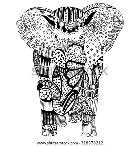 Stylized fantasy patterned elephant. Hand drawn vector illustration with floral elements. Original hand drawn elephant - stock vector
