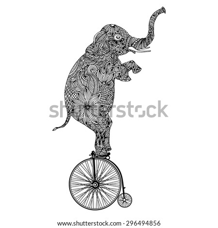 Stylized fantasy patterned elephant on vintage bicycle  - stock vector
