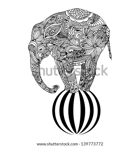 Stylized fantasy patterned elephant standing on a ball. Hand drawn vector illustration. - stock vector