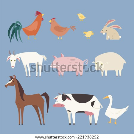 Stylized Farm animals collection, with nine different farm animals like: rooster, hen, chicken, rabbit, pig, sheep, horse, cow and duck vector illustration.  - stock vector