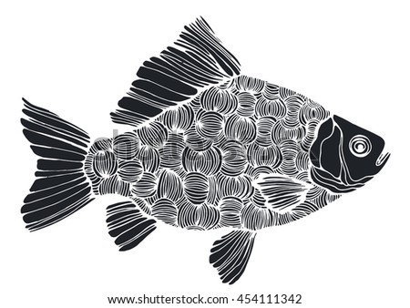 Line Art Of Fish : Stylized fish carp river black stock vector 454111342