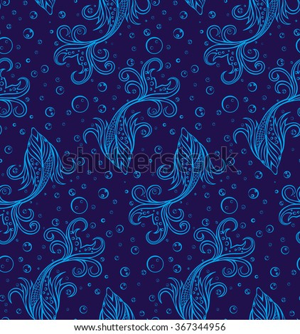 Stylized Fishes Seamless Pattern Underwater Texture Fishes