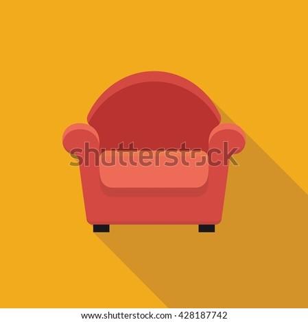 Stylized flat icon armchair. Vector illustration. Symbol - stock vector
