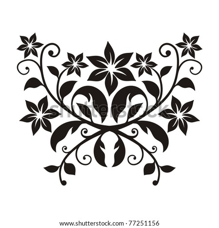 stylized floral element on white - stock vector