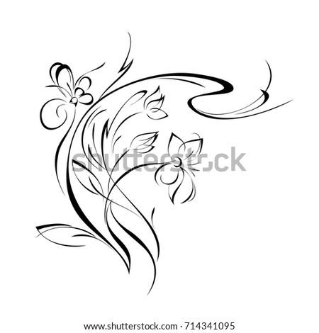 Stylized flower black lines on white stock vector 714341095 stylized flower in black lines on a white background mightylinksfo