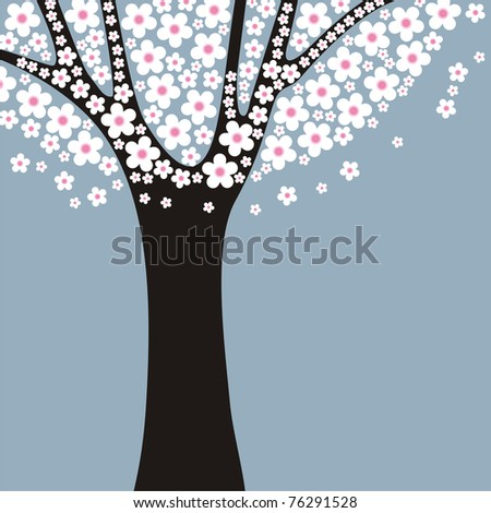 stylized flowering tree with space for your text - stock vector