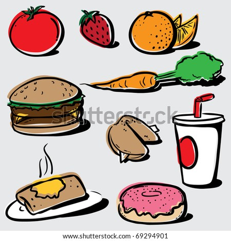 Stylized Food Vector Clipart - stock vector