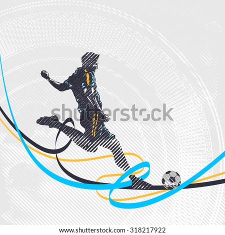 Stylized football player kicks the ball, soccer - stock vector