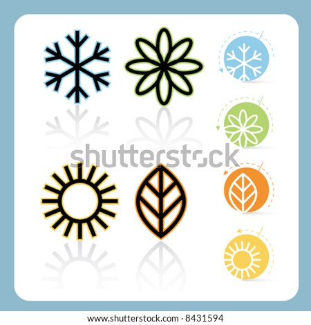 Stylized Four Seasons Icon Set, easy-edit vector file - stock vector