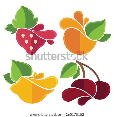 stylized fruits and berries emblems - stock vector