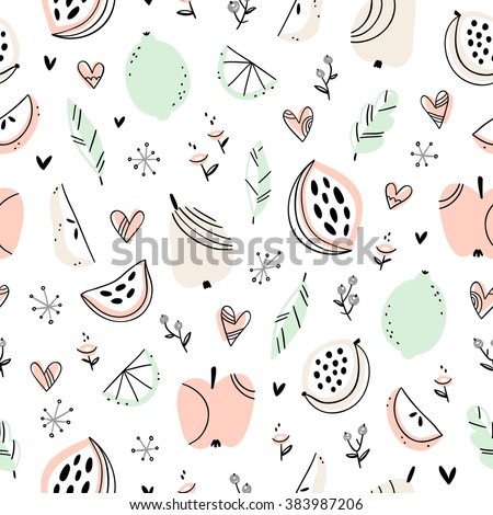 Stylized fruits and doodle hearts seamless pattern
