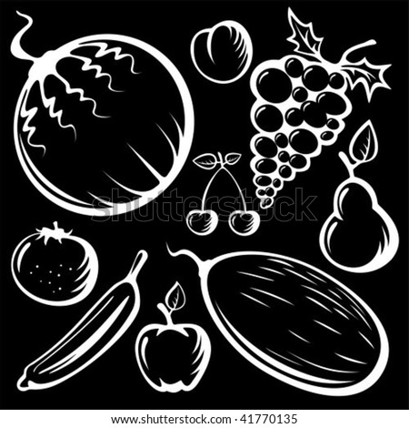 Stylized fruits set silhouettes isolated on a black background.