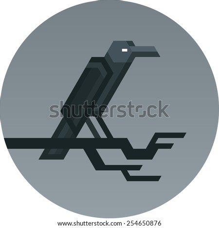 Stylized geometric image of a crow sitting on a tree bench inside a circle. - stock vector