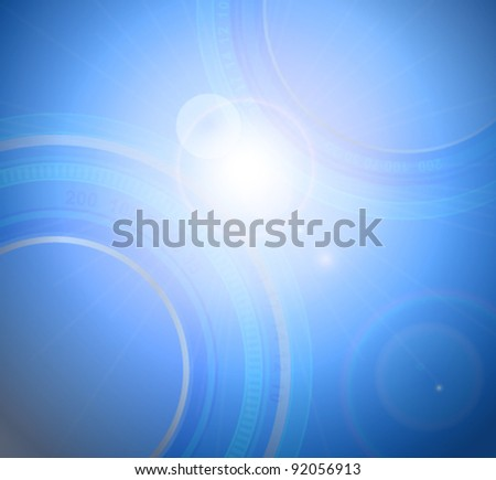 Stylized glowing background with digital symbols, vector illustration - stock vector