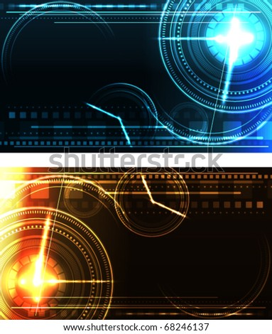 Stylized glowing backgrounds in wide-screen format - stock vector