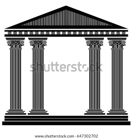 Stylized Greek columns. Doric. Ionic. Corinthian columns. Vector illustration. Black and white graphics. Facade. Stencil.  Fantasy temple. Fifth variant.
