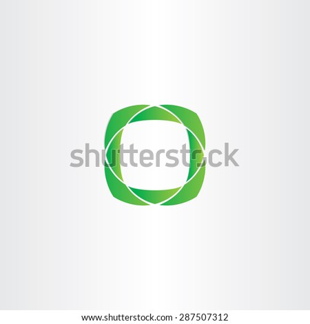 stylized green square frame icon design - stock vector