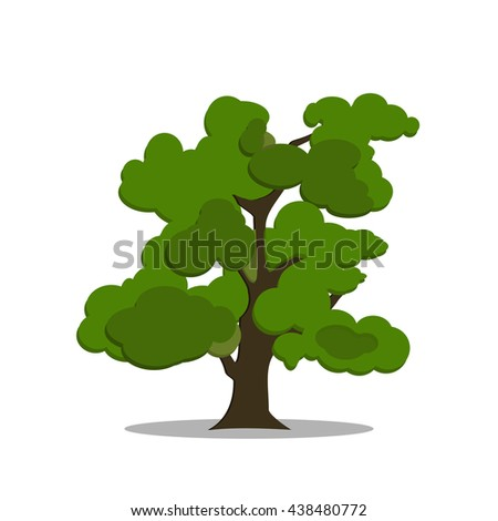 Stylized green tree in cartoon style. Vector tree isolated on white background. Tree logo eps10 - stock vector