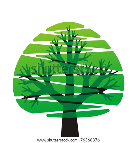 stylized green tree on white background - stock vector